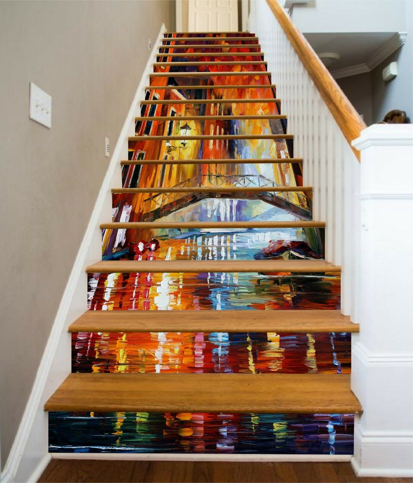 3D City Light Paint Stair Risers Decoration Photo Mural Vinyl Decal Wallpaper UK
