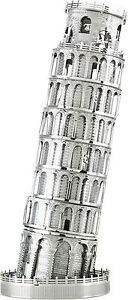 Slate-Tower-From-Pisa-3D-Metal-Kit-Silver-Edition-Metal-earth-1046