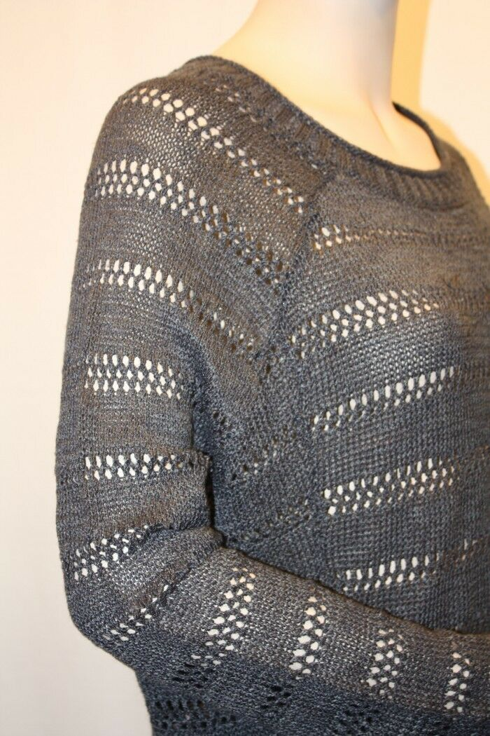 NEW BCBG MAX AZRIA CHARCOAL SHEER SHEER SHEER KNIT LONG SLEEVES LXO1H197 SWEATER SIZE XXS 4281ad