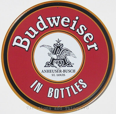 Budweiser In Bottles ROUND TIN SIGN vintage beer home bar metal wall decor 1157