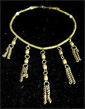 Antiguo África Occidental Auténtico tribal de bronce/cobre cadena gargantilla Dijes Borlas