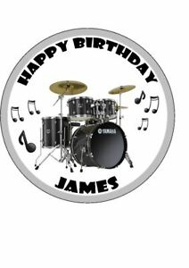 Sensational Personalised Drum Kit Edible Easy Peel Icing Birthday Cake Topper Funny Birthday Cards Online Overcheapnameinfo