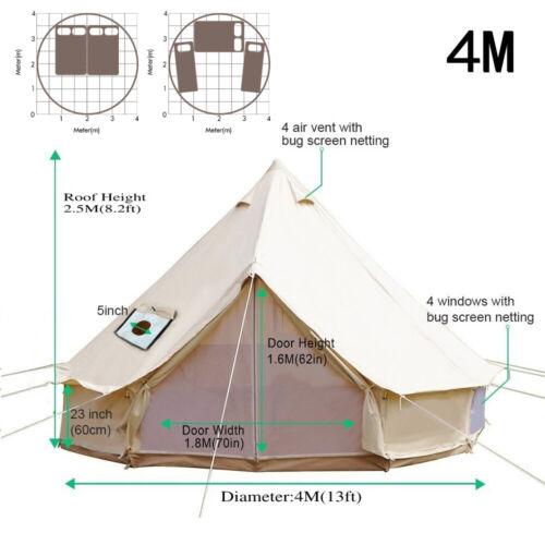 Tela di cotone TENDA CAMPEGGIO Bell 5M 6M 7M impermeabile Tenda campeggio Tenda iurte
