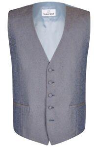 Wilvorst Herren Weste Hochzeitsanzug blau grau Paisleymuster 487121 36