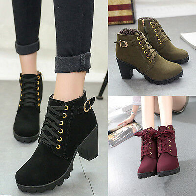Womens Fashion  Lace Up High Heel Ankle Boots Ladies Party Platform Buckle Shoes