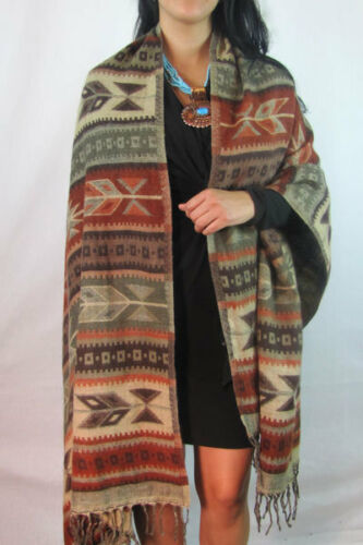 #5000 Shawl Wrap Wide Scarf Quality Very Soft Wool Blend Throw Lap Artisan Made