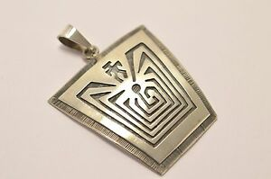 Taxco Mexico 925 Sterling Silver, Iitoi- Man in Maze, Hopi-Style Pendant Top