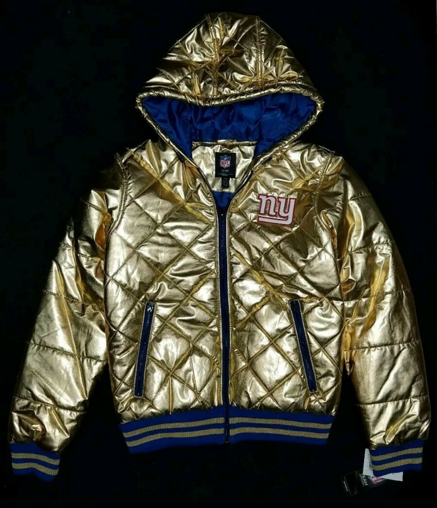 EXCELLENT NEW YORK GIANTS ZIP HOODIE,Gold COLLECTION,MEDIUM,NFL APPAREL,WITH TAG