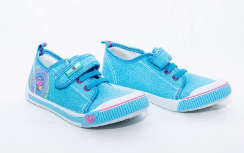 Girls canvas hook /& loop Fasteners Trainers Shoes Pumps 10-1 UK 28-33 EU