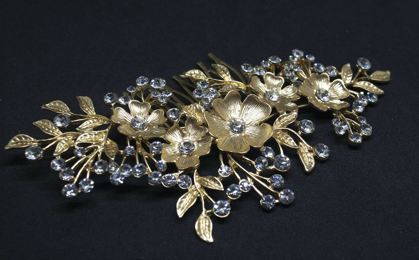 Gold tone hair comb bridal wedding crystal rhinestone hair accessories ha1925