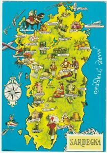 Cartina Satellitare Sardegna.Sardegna Cagliari Cartolina Cartina Geografica 48030 Ebay