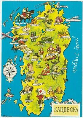 Cartina Sardegna Geografica.Sardegna Cagliari Cartolina Cartina Geografica 48030 Ebay