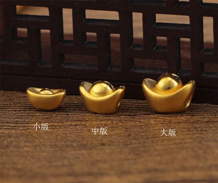 Puro Puro Puro 24k oro Giallo Ciondolo - 3d Yuanbao Perlina - Can Make Up Bracciale 76dedc