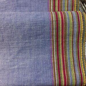 CRATE-amp-BARREL-ARUBA-Runner-BLUE-Multi-Color-Stripe-Border-14-X-108-100-Cotton