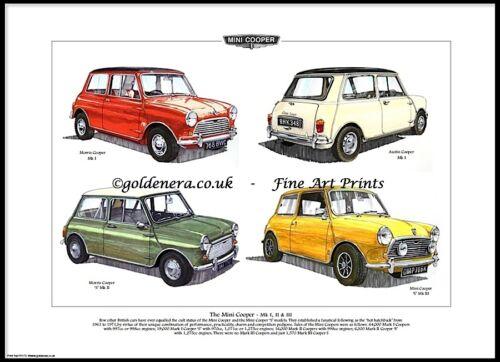 THE MINI COOPER Mk I Austin Morris /'S/' II /& III Fine Art Print 998 1275GT
