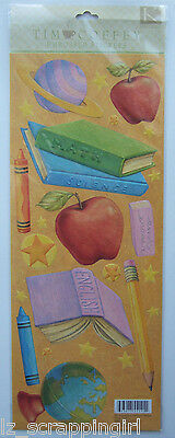 Tim Coffey ~SCHOOL DAYS~ Embossed Stickers K & Company Co; book apple crayons
