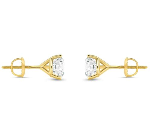 Details about  /1.25 Ct Round Cut Earrings Studs Solid Real 14K Yellow Gold Screw Back Martini