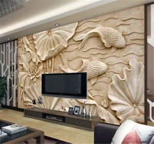 3D Stereo Lotus Leaf9 Wallpaper Mural Paper Wall Print Wallpaper Murals UK Carly