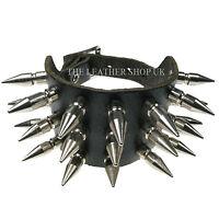 Mens Punk Gothic Medium Spike Studded Leather Handmade Wristband Made In Uk