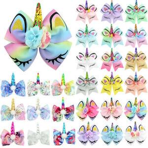 Girls-Kid-Unicorn-Dance-Cheer-Bow-Rubber-Band-Sequin-Ponytail-Elastic-Hair-Band