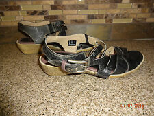 Womens ecco Sz 7.5 - 8 EUR 38 Grey Leather Strappy Sandals Shoes