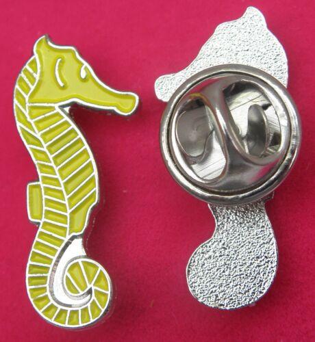 Yellow Seahorse Lapel Hat Cap Tie Pin Badge Sea Horse Hippocampus Brooch