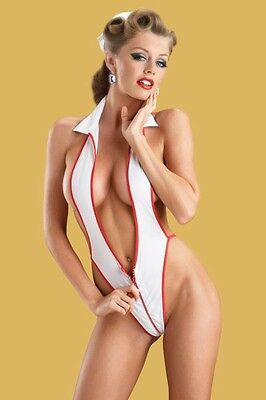 Exotic Dancer Sexy Lingerie Pin up Night Nurse G-Back Teddy Hat White Red Trim