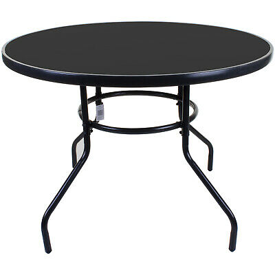100cm Round Glass Table Outdoor Garden, Round Patio Tables