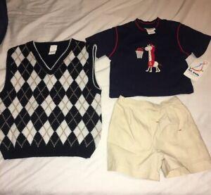 12-Months-boys-BT-kids-3-Piece-Set-Blue-shirt-with-Giraffe-amp-Basketball-Vest-New