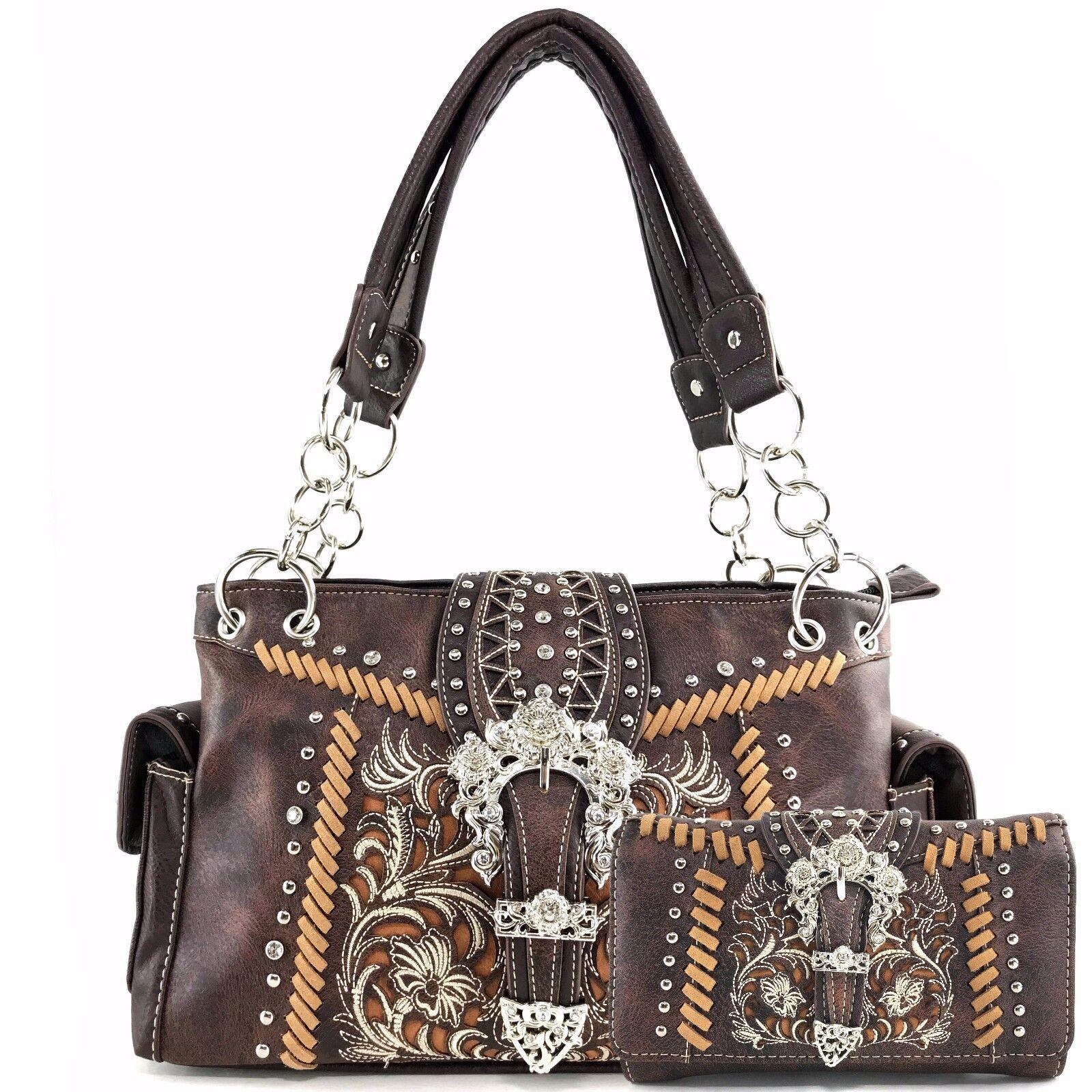 Justin West Buckle Damask Western Fl Pattern Conceal Carry Handbag Purse