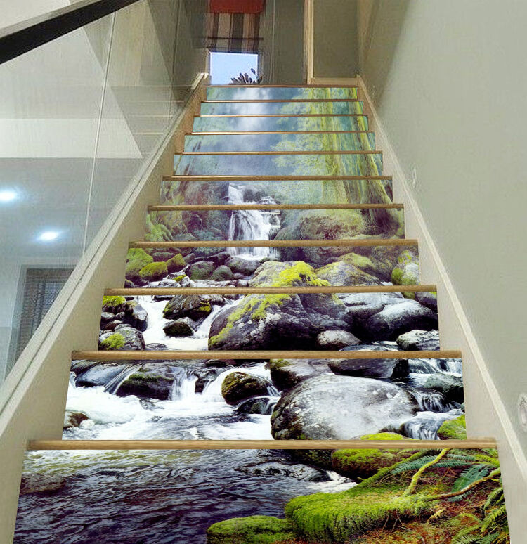 3D Stone water 7 Stair Risers Decoration Photo Mural Vinyl Decal Wallpaper UK