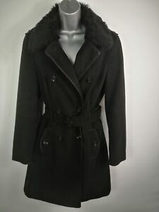 WOMENS-M-amp-S-BLACK-DOUBLE-BREASTED-BUTTON-UP-SMART-TRENCH-BELTED-COAT-SIZE-UK-12