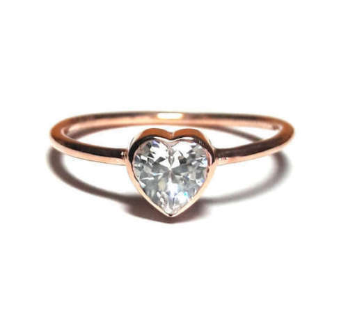 Details about  /10k solid gold heart Ring-Solitaire Ring gold ring,dainty Ring unique ring