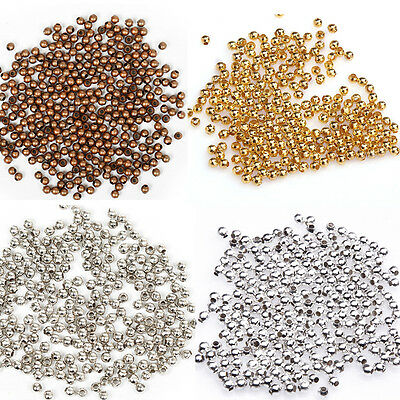 2mm New Silver/Gold/Copper /Nickel Metal Ball Spacer Beads Finding For Carft