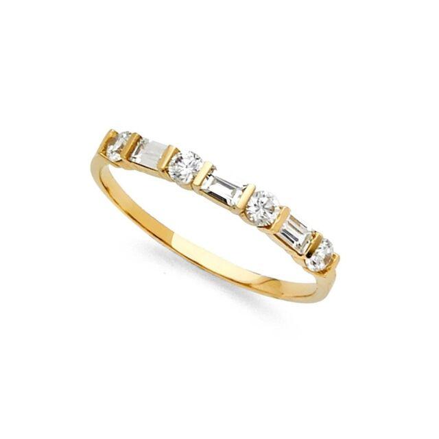 14k Yellow Gold Band Baguette Round CZ Wedding Ring Set   eBay