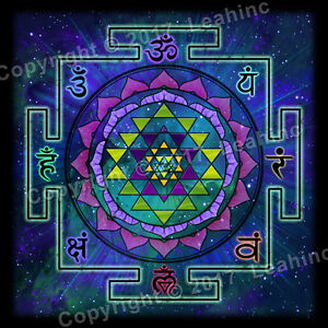 Details about Sri Yantra Cloth Tapestry Yoga Sanskrit Sacred Mandala Wall  Dorm Poster Decor