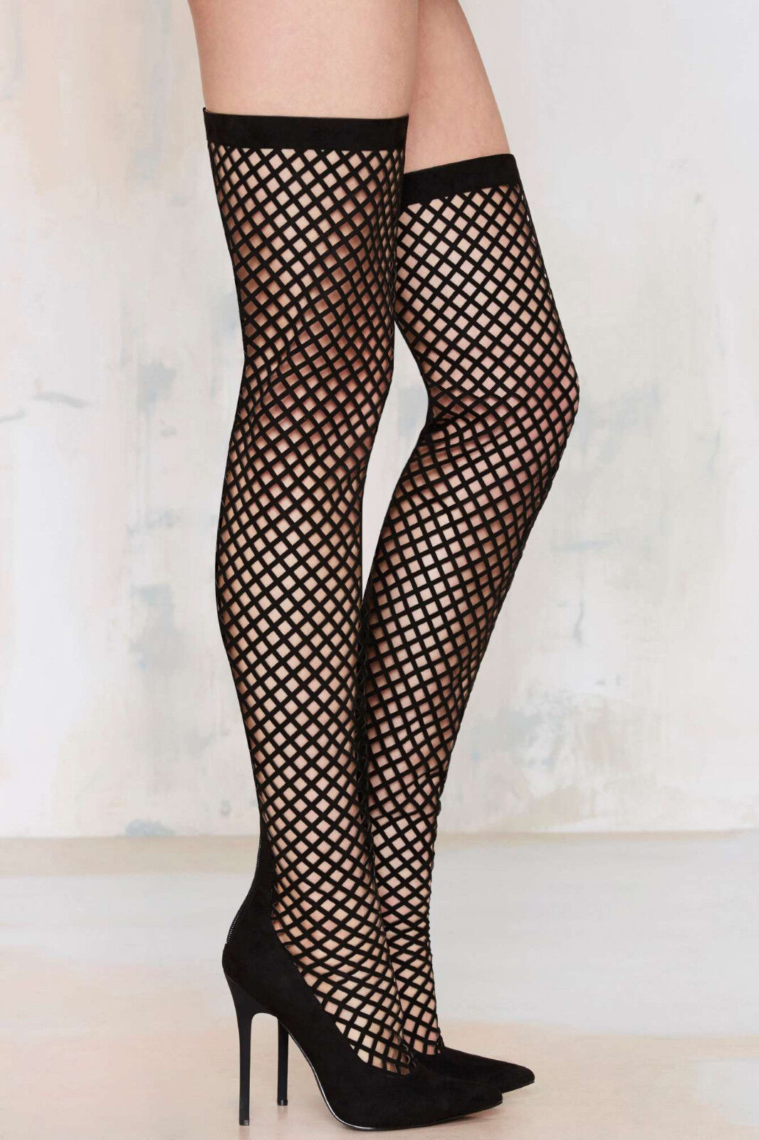 NEW NASTY GAL  158 BLACK IN THE CAGE THIGH HIGH BOOTS SHOES SZ 6
