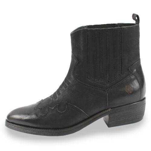 Apple of Eden Damen Stiefelette Cowboy-Bikerstiefeletten Schlupf Schuhe schwarz
