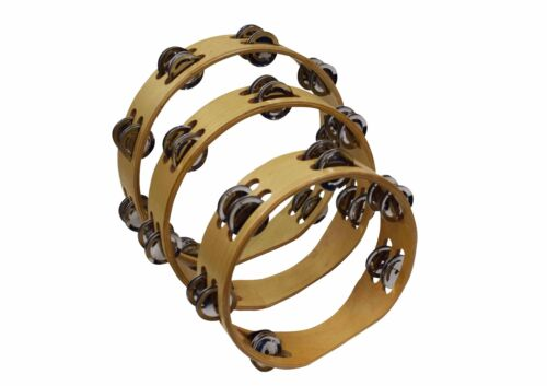 Ferris Wooden Headless Double Row Tambourines With Jingles In 3 Different Sizes