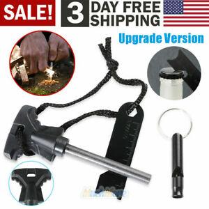 6IN1 Multifunction Fire Starter Ferro Rod Emergency Ferrocerium Scraper &Whistle