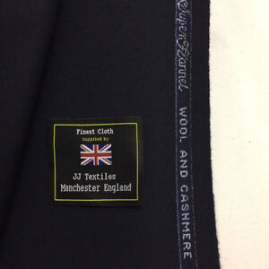 CHARLES-CLAYTON-Navy-Super-140-039-s-Wool-amp-Cashmere-flannel-Suit-Fabric