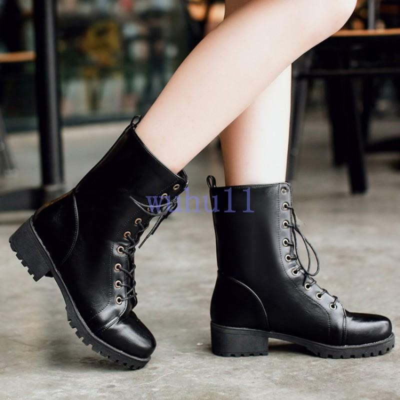 Women's  Retro Warm Fur Lining Lace Up Military Combat Mid Calf Boots shoes New