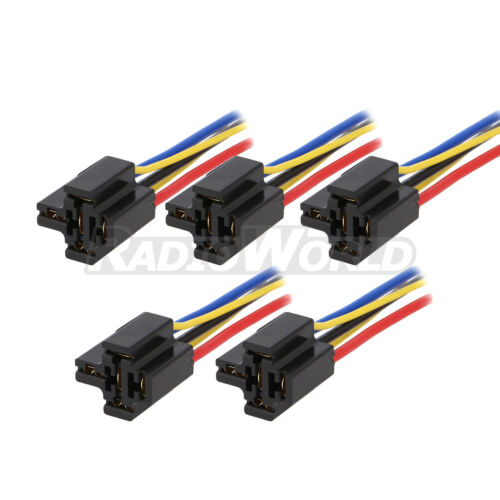 5 Pin Relay Mounting Base Socket Holder 12V 24V 40A 5x Pre Wired 4