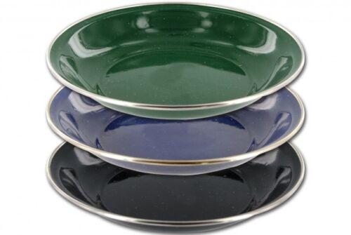 Highlander Deluxe Enamel Soup Plate Camping Vintage Style Black Green Blue