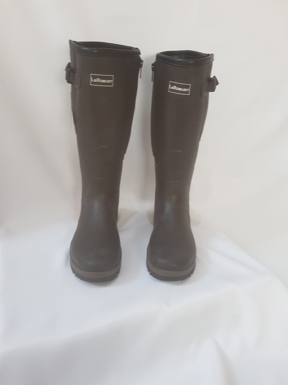 Marrón Wellies-Jersey forrado, cremallera y fuelle Ajustable – UK Talla 6.5