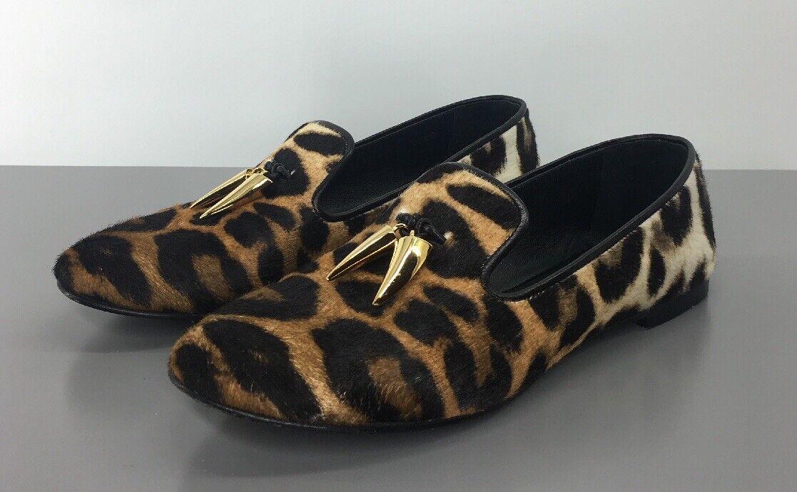Giuseppe Zanotti sería Apúrpura 'Ternegro pelo leopardo Mocasines 8.5