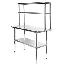 Commercial Stainless Steel Kitchen Prep Table With Double Overshelf 30 X 48