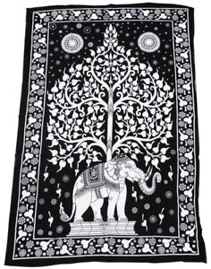 ELEFANT-TREE-OF-LIFE-Wandbehang-190-x-130-cm-Baum-des-Lebens-Decke-Tuch-Elephant
