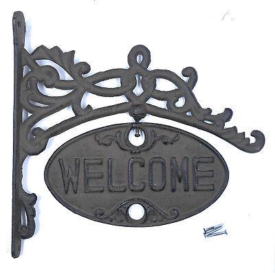 Cast Iron Welcome Dog Hound Sign Plaque Garden Home Outdoor Yard Lawn Door Decor