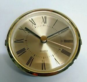 "CLOCK INSERT / fit-up brushed brass face ROMAN, BEAUTIFUL, 3 1/8""x3"" hole, 280RG"